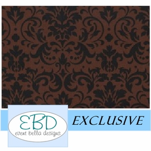 Damask Pattern Black on Chocolate