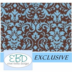 Damask Pattern Blue on Chocolate