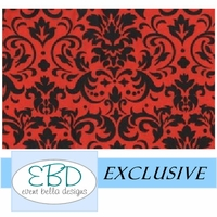 Damask Patterned Black on Red