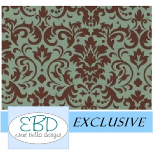 Damask Patterned Green on Chocolate