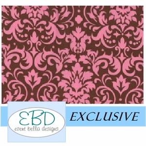 Damask Patterned Pink on Chocolate