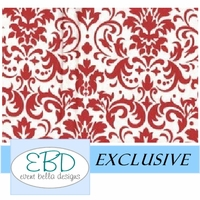 Damask Patterned Red on White