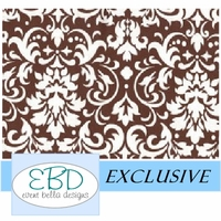 Damask White on Chocolate