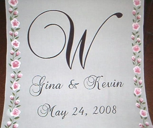 Pink Rose Border with Names, Monogram and Date
