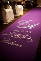 Purple & Silver Monogram Fabric Aisle Runner