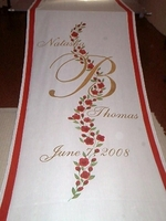 Red Vining Roses with Names, Monogram, Date and Border
