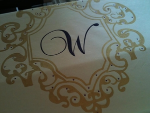 Renaissance Frame with Monogram and Gems Aisle Runner