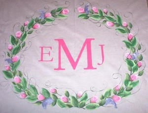 Three Letter Monogram with Floral Frame