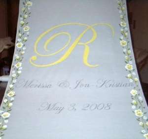Yellow Rose, Daisy & Red Berries Border with Names, Monogram and Date