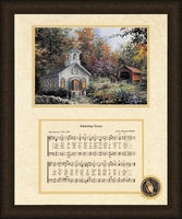 "Amazing Grace Song with Church Framed Art Large 16"" x 20"""