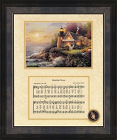 "Amazing Grace Song with Lighthouse Framed Art 8"" x 10"""