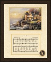 "Amazing Grace Song with Lighthouse Framed Art Large 16"" x 20"""