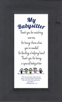 "Babysetter Framed Inspirational Gift with Easel 2.5"" X 5"""