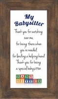 "Babysitter Framed Inspirational Gift with Easel 3.5"" X 3.5"""