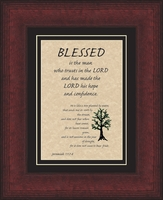 """Blessed is the Man Scripture Verse Framed Gift 8.5"""" X 10.5"""""""
