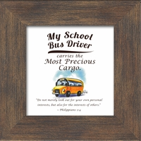 """Bus Driver Appreciation Framed Gift 3.5"""" X 3. 5"""" with Built in Easel"""