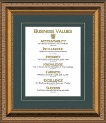 """Business Christian Scripture Values, Frame Gallery Deep Inset Antique Gold Finish 10"""" X 12"""""""
