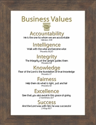 Business Motivational Values based on Scripture Ethics Framed Gift for Guidance, Excellence, Integrity and Success
