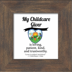 """Child Care Giver Framed Inspirational Gift with Easel 3.5"""" X 3.5"""""""