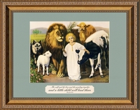"""Child with Calf and Lion Art In Gold Frame with Scripture  11"""" X 14"""""""