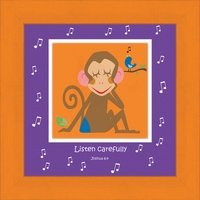 "Christian Children's Wall Art - Orange- Monkey - 10"" x 10"""