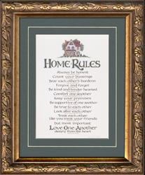 "Christian Home Rules Family Values Framed 7"" X 9"""
