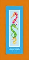 "Christian Nursery Wall Decor -  Seahorses with Scripture - 6"" x 12"""