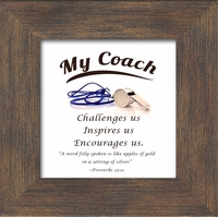 """Coach Appreciation Saying Framed Gift 3.5"""" X 3.5"""" with Built in Easel"""