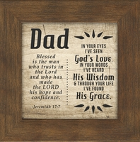 Dad, Father, Jeremiah 17:7, Saying Framed 5X5 Gift, Fathers Day, Birthday Words of Gratitude, Encouragement and Appreciation Easel for Standing