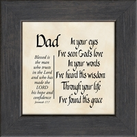 Dad, Father, Jeremiah 17:7, Saying Frame 3.5X3.5 Gift, Fathers Day, Birthday Words of Gratitude, Encouragement and Appreciation Easel for Standing