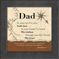 """Dad Inspirational Framed Gift with Built in Easel or Wall Display 6"""" x 6"""""""