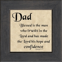 """Dad Scripture Verse Gift frame 4.5"""" X 4.5"""" with Easel"""