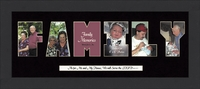 "Family Word Photo Mat Framed 9"" X 21"""