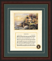 "Framed Amazing Grace Song with Decorative Lighthouse Art in Antique Gold Frame 10"" X 12"""