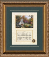 "Framed Song, Amazing Grace, with Decorative Art. Inspirational Art for traditional Home   10"" X 12"""