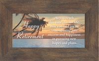 """Happy Retirement Encouragement Saying Framed Gift with Built in Easel 2.5"""" X 5"""""""