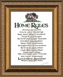 "Home Rules Christian Scripture Framed in Gallery Deep Inset Antique Gold Finish Frame 8"" X 10"""