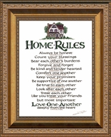 """Home Rules Christian Scripture Framed in Gallery Deep Inset Antique Gold Finish Frame 8"""" X 10"""""""