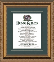 """Home Rules Christian Scripture Values Framed Gallery Deep Inset Antique Gold Finish Frame 13"""" X 15"""""""