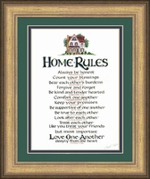 """Home Rules Scripture Framed Gift 12"""" X 14"""""""