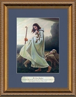 """Jesus as The Good Shepherd Art In Gold Frame with Scripture  11"""" X 14"""""""