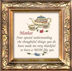 "Mother Appreciation Verse Framed Gift with Built in Easel 3.5"" X 3.5"""