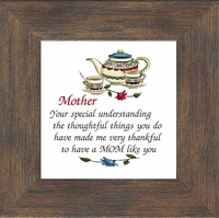 "Mother Inspirational Poem Framed Gift 3.5"" X 3.5"" with Built in Easel"