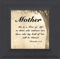 "Mother Inspirational Scripture Framed Gift with Built in Easel 3.5"" X 3.5"""