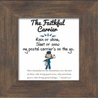 """Postal Worker Female Appreciation Framed Gift with Built in easel 3.5"""" X 3.5"""""""
