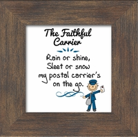 """Postal Worker Male Appreciation Framed Gift with Built in easel 3.5"""" X 3.5"""""""