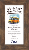 """School Bus Driver Appreciation Framed Gift 2.5"""" X 5"""" with Built in Easel"""