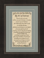 "The Art of Marriage Poem Framed Gift 9.5"" X 13.5"""