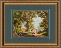 """The Road to Emmaus Gold Framed Art with Jesus walking 11"""" X 14"""""""