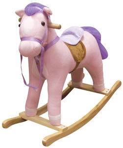 Princess the Pink Plush Toddler Rocking Horse with Sound by Charm Co.